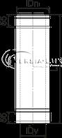 Труба дымоходная 0,5 м нерж/оцинк ø100/160 мм (толщина 0,8 мм), фото 2