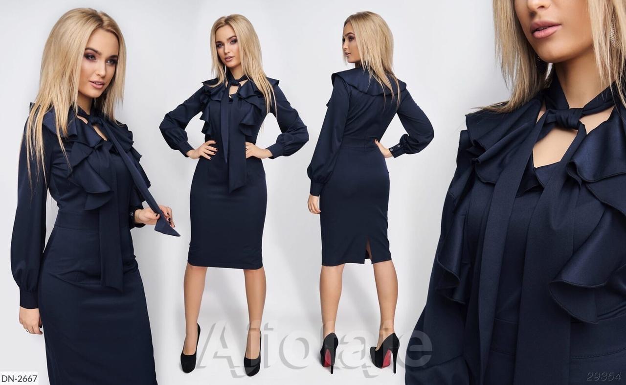 Женское стильное платье однотонное, повседневное. Ткань: костюмка.