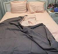 Льняная постель KonopliUA  140х205 см Коричнево-розовый
