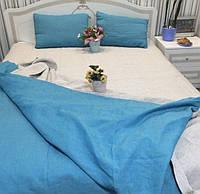 Льняная постель KonopliUA 172х205 см Серо -голубой