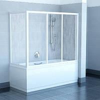 Раздвижная шторка на ванну: трехстворчатая + боковая панель.