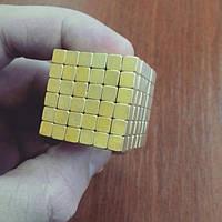 Неокуб квадратный Neocube 216 кубиков 5мм в металлическом боксе (Золотой)