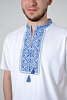 Украинская вышиванка мужская в белом цвете с синим орнаментом