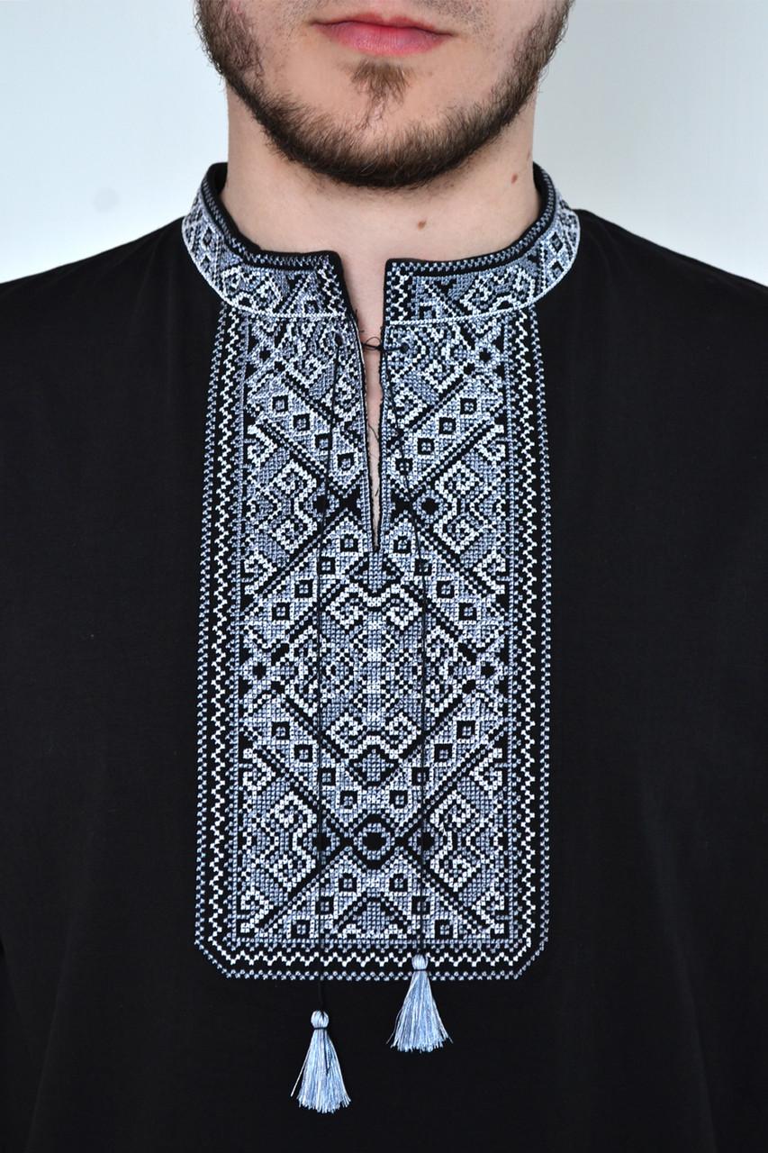 Стильная мужская футболка вышиванка с коротким рукавом   в украинском стиле с орнаментом