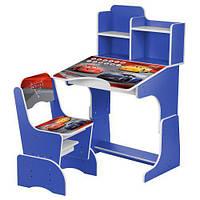 Детская парта Тачки W 2071-70-4 (UA) со стульчиком синяя