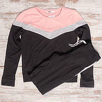 0004 розово-черный женский спортивный костюм (42,42,44, 3 ед.)