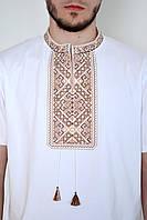 Нарядная мужская вышиванка в белом цвете с этническим орнаментом