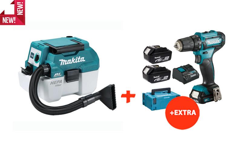 Аккумуляторный пылесос Makita DVC750LZ+аккумуляторный шуруповерт Makita DF333DNX10 (DVC750REX10)