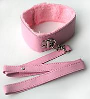 БДСМ ошейник с поводкоом цвет розовый Notabu. Ошейники и поводки