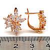 Серьги Xuping из медицинского золота, белые фианиты, позолота 18К, 23497       (1), фото 3