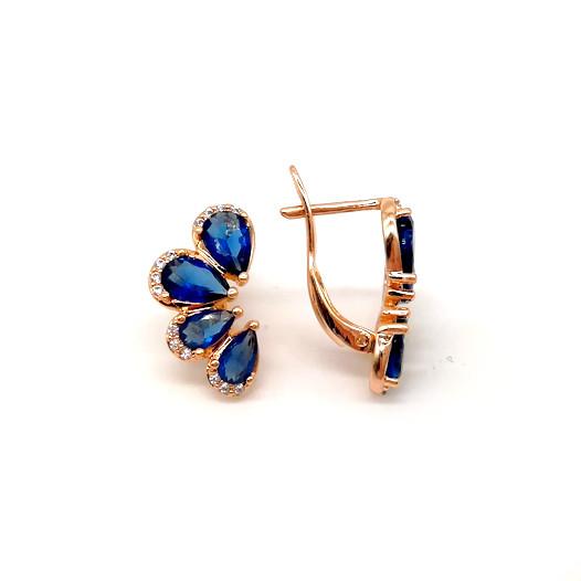 Серьги Xuping из медицинского золота, синие фианиты, позолота 18К, 23463       (1)
