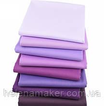 Набор разноцветной однотонной ткани в фиолетовых тонах - 8 отрезов 40*50 см