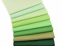 Набор разноцветной однотонной ткани в зеленых тонах - 8 отрезов 40*50 см