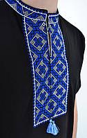 Праздничная мужская вышиванка черного цвета с синим орнаментом