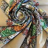 Цветущее лето 1839-2, павлопосадский платок хлопковый (батистовый) с швом зиг-заг, фото 6