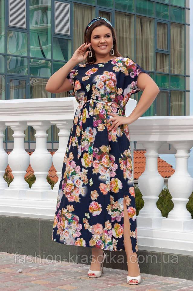 Нарядное женское легкое платье,размеры:52,54,56,58.