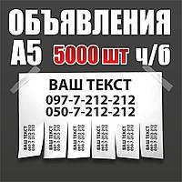Печать объявлений, ч/б 5000 штук