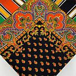 Восточная кайма 1898-18, 89x89, павлопосадский платок шерстяной с оверлоком, фото 6