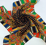 Восточная кайма 1898-18, 89x89, павлопосадский платок шерстяной с оверлоком, фото 7