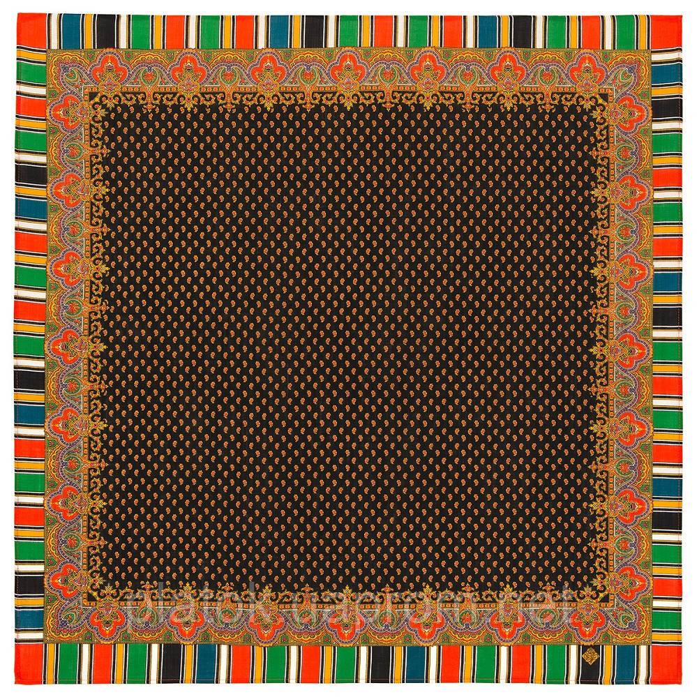 Восточная кайма 1898-18, 89x89, павлопосадский платок шерстяной с оверлоком