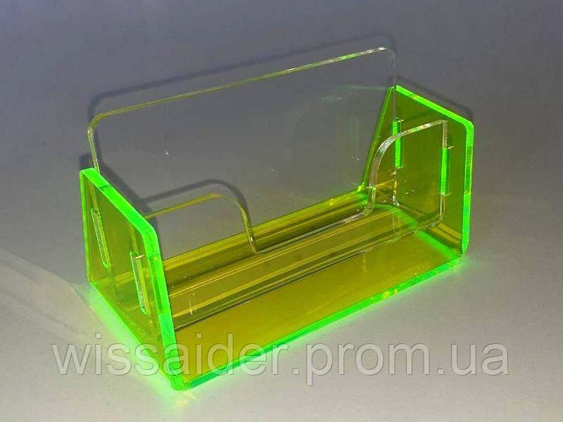 Визитница одинарная. Двухэлементная. (арил 3мм) + флуоресцентное зелёное основание 3мм.)