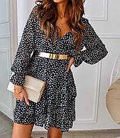 Легкое модное  женское платье в горошек
