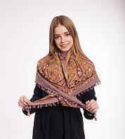 Платок шерстяной с кисточками (темная пудра), фото 1