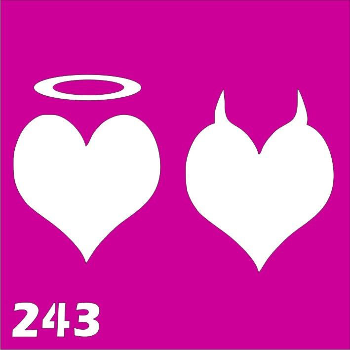 Сердце Ангел и чертенок  - трафарет для био тату