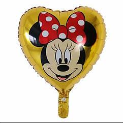 Двухсторонний фольгированный  шар  сердце золото с рисунком Минни и Микки Маус 45 см