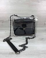 Маленькая прозрачная женская сумка черная через плечо кросс-боди силиконовая на цепочке, фото 1