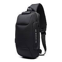 Однолямочный рюкзак на одно плечо Ozuko 9223 Black мужской городской с ЮСБ портом анти-вор с замком