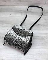 Сумка-рюкзак мини! Черно-белая женская сумочка T4101 трансформер через плечо маленькая, фото 1