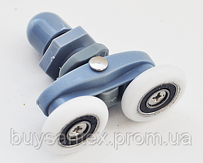 Ролик для душової кабіни, гідробоксу - з двома колесами, сірий, поворотний (В27В)