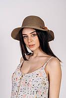 Коричневая женская шляпа на лето с цветком