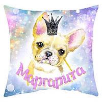 Мини-подушка декоративная Собачка в короне именная