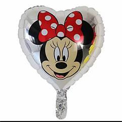 Двухсторонний фольгированный  шар  сердце серебро с рисунком Минни и Микки Маус 45 см