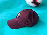 Бейсболка спортивная кепка с логотипом ФК Барселона Бордовая