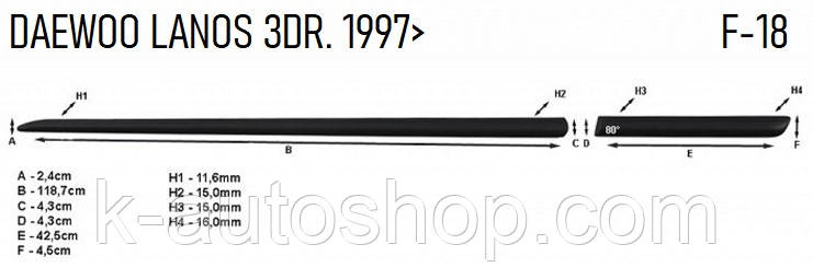 Молдинги на двері для Daewoo Lanos 3dr 1997>, фото 2