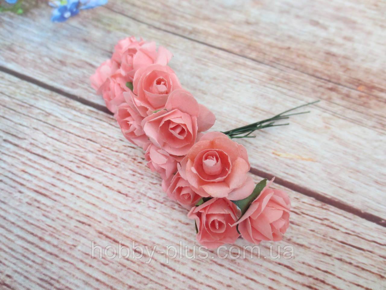 Роза бумажная, d 1,5 см, цвет КОРАЛЛОВЫЙ, 12 шт/упаковка