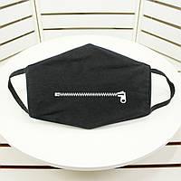 Защитная маска для лица, черного цвета с изображением молнии