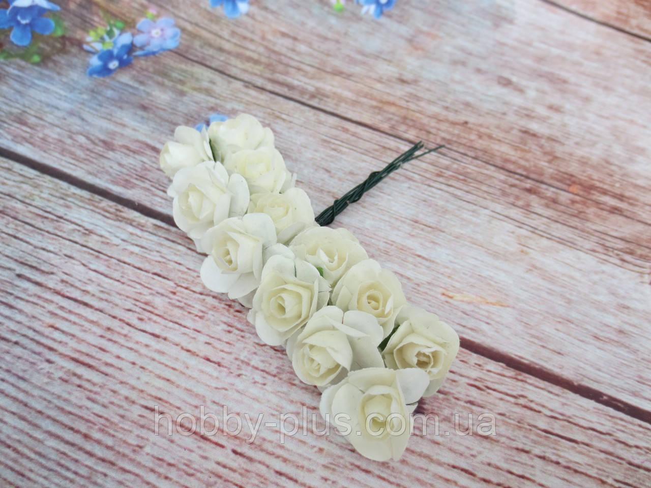 Роза бумажная, d 1,5 см, цвет АЙВОРИ, 12 шт/упаковка