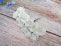 Роза бумажная, d 1,5 см, цвет БЕЛЫЙ, 12 шт/упаковка
