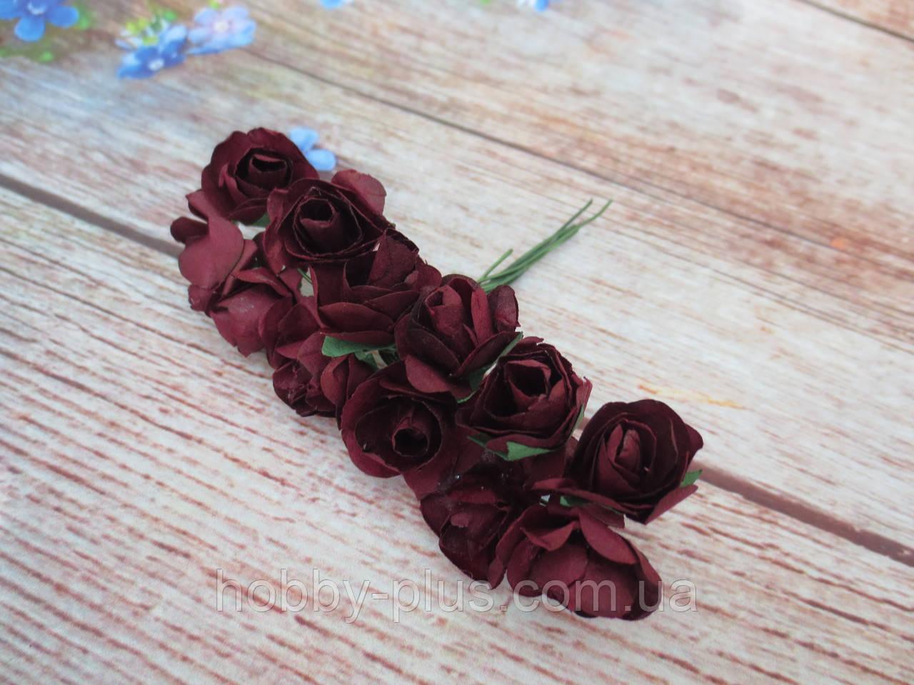 Роза бумажная, d 1,5 см, цвет БОРДОВЫЙ, 12 шт/упаковка