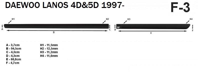 Молдинги на двері для Daewoo Lanos 5dr. хетчбек / 4dr. сєдан 1997>, фото 5