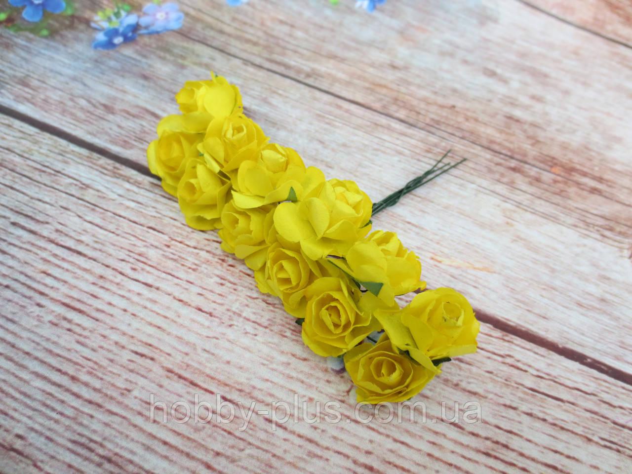 Роза бумажная, d 1,5 см, цвет ЖЕЛТЫЙ, 12 шт/упаковка