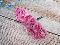 Роза бумажная, d 1,5 см, цвет РОЗОВЫЙ, 12 шт/упаковка