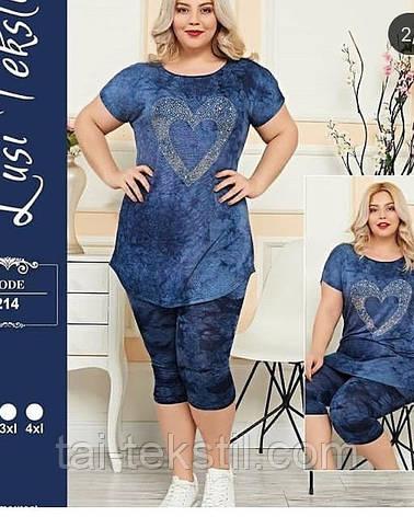 Костюм жіночий футболка і шорти віскоза+оксамит, фото 2