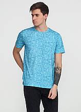 Футболка мужская голубая с абстрактным узором MSY