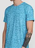 Футболка мужская голубая с абстрактным узором MSY, фото 3
