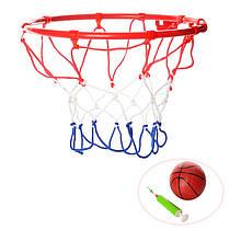 Баскетбольное кольцо 22 см металл, Набор для игры в баскетбол (мяч, кольцо, насос), 3371